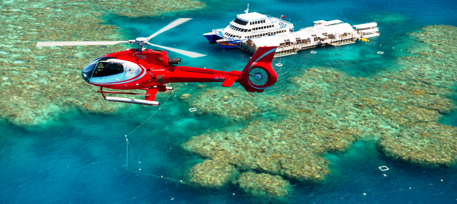Green Island Reef, Semi-submarine & Glass bottom boat / Snorkeling Gears OR Helicopter Ride over Great Barrier reef